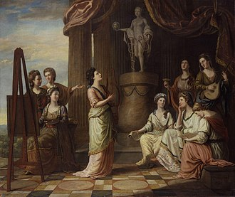 Blue Stockings Society - Portraits in the Characters of the Muses in the Temple of Apollo, 1778, 52 x 61 inches, by Richard Samuel. The sitters are: Anna Letitia Barbauld (1743–1825), poet and writer; Elizabeth Carter (1717–1806), scholar and writer; Elizabeth Griffith (1727–1793), playwright and novelist; Angelica Kauffmann (1741–1807), painter; Charlotte Lennox (1720–1804), writer; Catharine Macaulay (1731–1791), historian and political polemicist; Elizabeth Montagu; Hannah More (1745–1833), religious writer; Elizabeth Ann Sheridan (née Linley).
