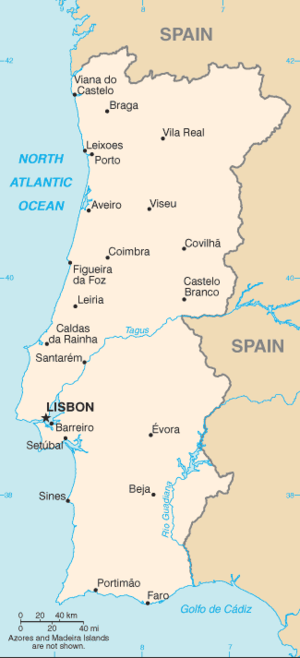 Continental Portugal - Map of continental Portugal