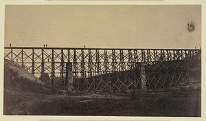 Herman Haupt - Military railroad bridge restored over Potomac Creek.