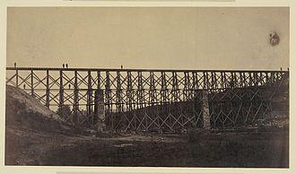 Herman Haupt - Military railroad bridge restored over Potomac Creek.