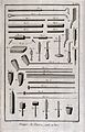 Pottery; clay tobacco pipes, with associated tools. Engravin Wellcome V0024046.jpg
