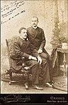 Príncipe D. Pedro Augusto sentado e seu irmão D. Augusto no exílio em Cannes - filhos da Princesa Leopoldina - 1890.jpg