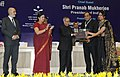 Pranab Mukherjee gave away the Saakshar Bharat awards at the International Literacy Day celebrations, in New Delhi. The Union Minister for Human Resource Development, Smt. Smriti Irani and the Secretary (1).jpg