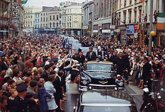 Ireland–United States relations - President John F. Kennedy in motorcade in Cork on June 27, 1963