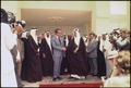 President Nixon shaking hands with King Faisal of Saudi Arabia following talks at Riasa Palace - NARA - 194585.tif