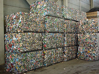 Drink can - Aluminium cans pressed into blocks for recycling