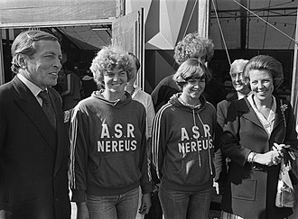 Karin Abma - Prince Claus and Princess Beatrix congratulate Dierdorp (left) and Abma (right) at the 1977 World Championships