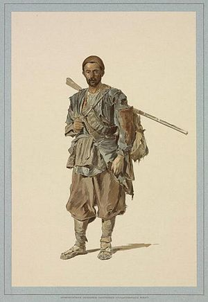 "Pshavi - ""A Pshav man"", by Theodor Horschelt. From the album published in St. Petersburg in 1896"