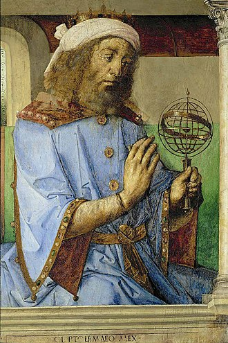 Justus van Gent - Ptolemy with an armillary sphere model, by Joos van Ghent and Pedro Berruguete, 1476, Louvre, Paris