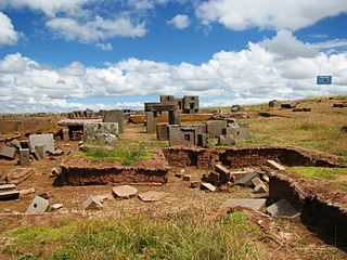 Pumapunku oasis and part of a temple complex, believed to date to 536AD, in the Tiwanaku Site near Tiwanaku, in western Bolivia, and the site where Inca traditions believed the world was created