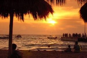 Puerto Vallarta - Sunset on Los Muertos beach in Olas Altas, Col Zapata.