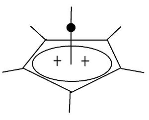 Hexamethylbenzene - Image: Pyramidal dikation, hexamethyl