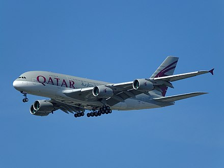 Qatar Airways Airbus A380, Qatar Airways, one of the world's largest airlines, links over 150 international destinations from its base in Doha. QTR A7-APA A380!137 EDHI 16-04-14.jpg