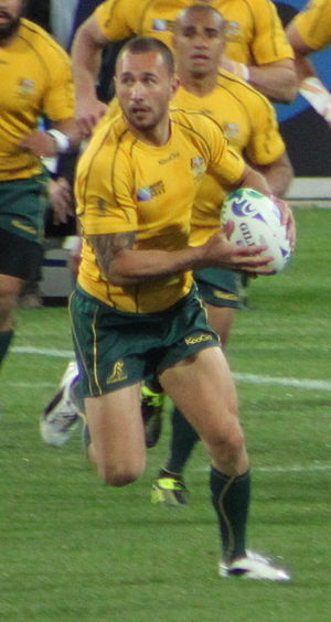 Quade Cooper - Cooper playing for Australia at the 2011 Rugby World Cup.