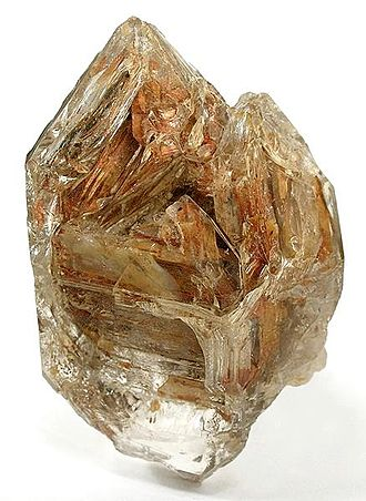 Avery County, North Carolina - Unusual, doubly terminated quartz crystal with clay inclusions, found in Avery County, which is well known for producing quartz specimens.