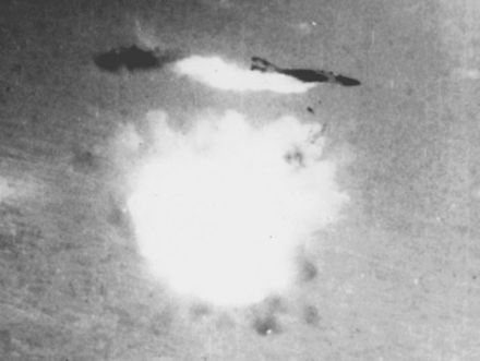 An S-75 detonates directly below an RF-4C reconnaissance plane. The crew ejected and were taken captive. RF-4C Phantom II of the 11th TRS is shot down by a S-75 missile over Vietnam, 12 August 1967.jpg