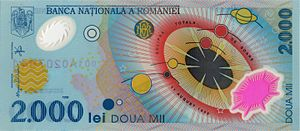 Polymer banknote - A 2000 lei note from Romania, issued to commemorate the last eclipse of the Millennium.