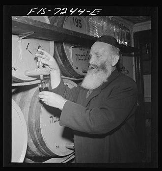 Kosher foods - Rabbi in a Kosher wine shop