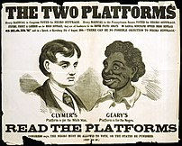 """The two platforms"" From a series of racist posters attacking Radical Republican exponents of black suffrage, issued during the 1866 Pennsylvania gubernatorial race. (See ""The Constitutional Amendment,"" no. 1866-5.) The poster specifically characterizes Democratic candidate Hiester Clymer's platform as ""for the White Man,"" represented here by the idealized head of a young man. (Clymer ran on a white-supremacy platform.) In contrast a stereotyped black head represents Clymer's opponent James White Geary's platform, ""for the Negro."" Below the portraits are the words, ""Read the platforms. Congress says, The Negro must be allowed to vote, or the states be punished."" Above is an explanation: ""Every Radical in Congress Voted for Negro Suffrage. Every Radical in the Pennsylvania Senate Voted for Negro Suffrage. Stevens Representative Thaddeus Stevens, Forney W. Forney, editor of the "" Philadelphia Press"":, and Cameron Republican boss Simon Cameron are for Negro Suffrage; they are all Candidates for the United States Senate. No Radical Newspaper Opposes Negro Suffrage. ""Geary"" said in a Speech at Harrisburg, 11th of August, 1866--""There Can Be No Possible Objection to Negro Suffrage."" 1 print : woodcut with letterpress on wove paper ; 44.4 x 57."