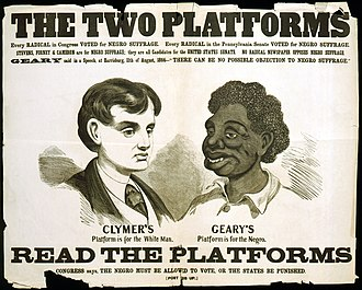 Racism - A racist political campaign poster from the 1866 Pennsylvania gubernatorial election