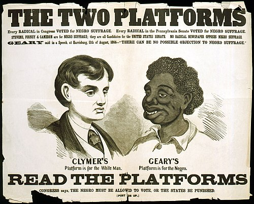 Opposition poster for the 1866 election.  Geary's opponent, Hiester Clymer, ran on a white supremacy platform.