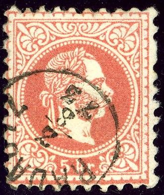 Rădăuți - Austrian KK stamp, issue 1873, cancelled at Radautz