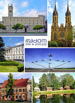 City hall, Cathedral of Virgin Mary, Office of City, Official logo, Orlik Aerobatic Team, Market Square, Museum of the Radom Village