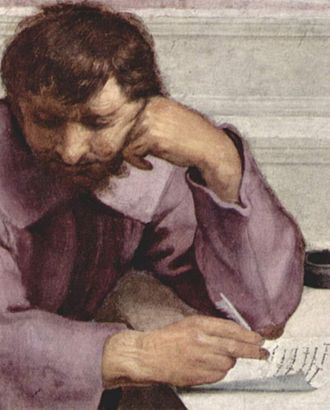 Communion of the Apostles (Barocci) - Detail from the School of Athens, Michelangelo as Heraclitus