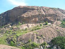 A rocky outcrop such as those used in filming Sholay