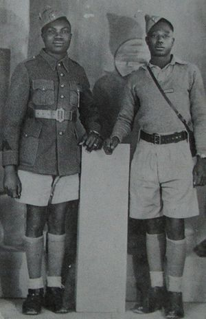 Raphaël Onana - Raphaël Onana, on the right, a young militiaman at 20 years age, with his comrade.