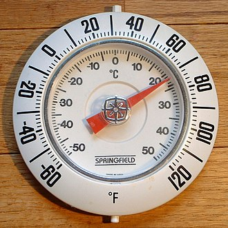 Fahrenheit - Thermometer with Fahrenheit (marked on outer bezel) and Celsius (marked on inner dial) degree units. The Fahrenheit scale was the first standardized temperature scale to be widely used.