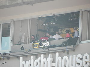 National Football League on television - Television booth at Raymond James Stadium