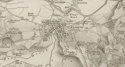 Map of Reading from 1830 by Ordnance Survey.
