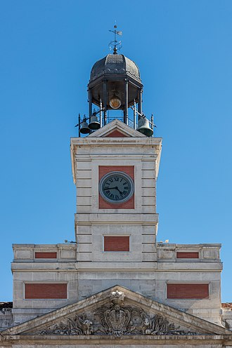 Royal House of the Post Office - Detail of the clock tower.