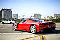 Red Enzo leaving Cars and Coffee (8170688242).jpg