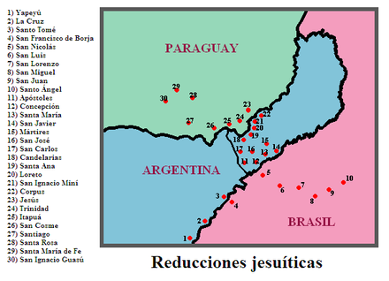 Location of the most important Jesuit Reductions, with present political divisions. Reducciones.PNG