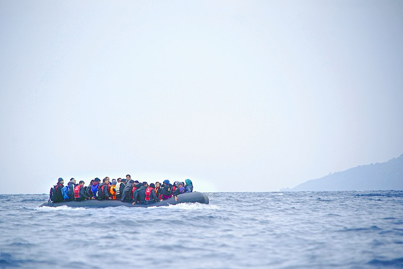 File:Refugees on a boat crossing the Mediterranean sea, heading from Turkish coast to the northeastern Greek island of Lesbos, 29 January 2016.jpg