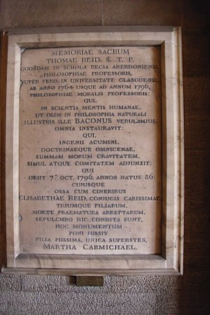 Thomas Reid's tombstone - Thomas Reid's tombstone at the entrance of the Gilbert Scott Building of Glasgow University