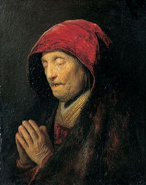 Residenzgalerie - Old Woman Praying (known as Rembrandt's Mother Praying) by Rembrandt, 1629/30