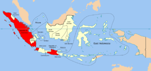 "Pasundan - The United States of Indonesia with Pasundan marked as ""West Java"". The USI constituent state of the Republic of Indonesia is shown in red."
