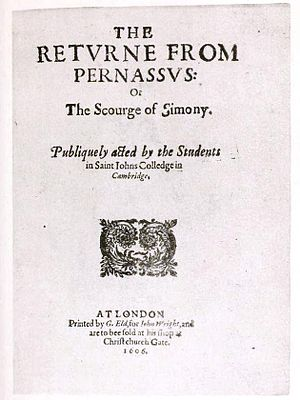 Parnassus plays - Title page of The Return from Parnassus: Or the Scourge of Simony (1606)