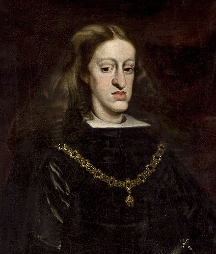 Charles II of Spain was born mentally and physically disabled due to centuries of inbreeding in the House of Habsburg Rey Carlos II.jpg