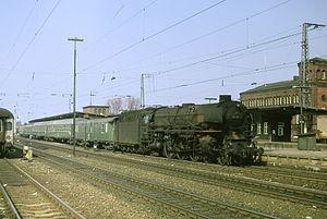 Rheine station - 012 Class at Rheine on a train from Emden, Easter 1974.