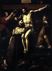 Der heilige Franziskus umarmt den Gekreuzigten