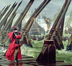 Cardinal Richelieu at the Siege of La Rochelle.