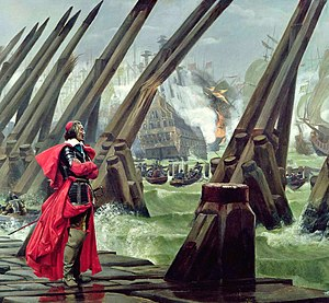 Jean Hoeufft - Cardinal Richelieu at the Siege of La Rochelle against the Huguenots (detail of a painting by Henri Motte, 1881)