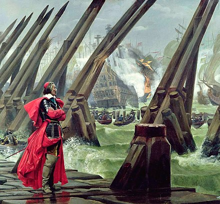 Cardinal Richelieu at the Siege of La Rochelle against the Huguenots (detail of a painting by Henri Motte, 1881) RichelieuRochelle.jpg