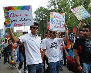 Demonstrating for gay rights at the 2009 March...