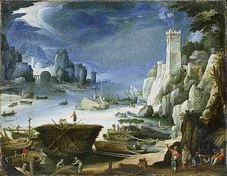 Paul Bril - River view with rocks, 1601