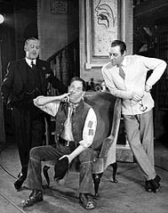 Robert Coote (Colonel Pickering), Stanley Holloway (Alfred P. Doolittle) and Rex Harrison (Henry Higgins) from the Broadway production of My Fair Lady.